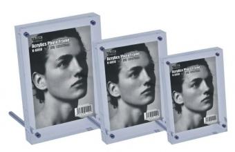 Display acrilic cu magneti, cu sprijin, pentru fotografii, (102 x 153mm)-portrait, KEJEA-transparent