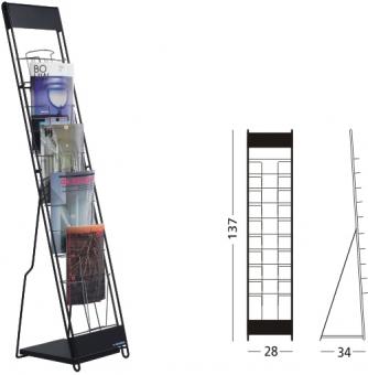Stand metalic pentru cataloage 10 x A4, 137 x 30 x 23 cm, SMIT Classic - negru
