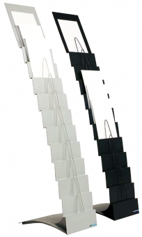Stand metalic pentru cataloage 11 x A4, 153 x 28 x 47 cm, SMIT Escalera - gri