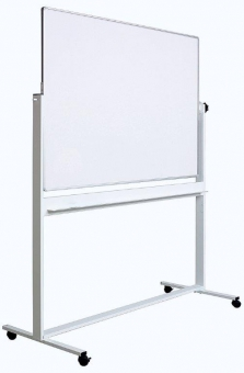 Tabla alba magnetica, dubla fata, rotativa, 100 x 180 cm, pe stand mobil, profil aluminiu, Optima