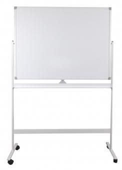 Tabla alba magnetica, dubla fata, rotativa, 120 x 150 cm, pe stand mobil, profil aluminiu, Optima