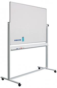 Tabla alba magnetica, dubla fata, rotativa, 100 x 200 cm, pe stand mobil, profil aluminiu RC, SMIT