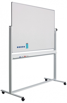 Tabla alba magnetica, dubla fata, rotativa,  90 x 120 cm, pe stand mobil, profil aluminiu RC, SMIT