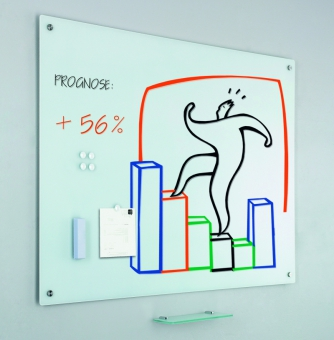Tabla alba magnetica din sticla, 100 x 150 cm, SMIT