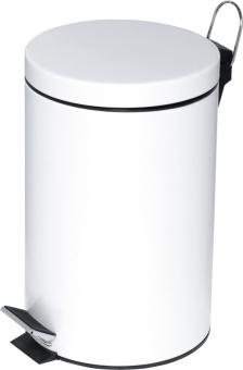 Cos metalic cu pedala si capac, forma rotunda, 12 litri, ALCO - alb