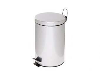 Cos metalic cu pedala si capac, forma rotunda, 12 litri, ALCO - argintiu