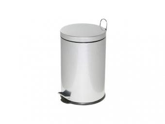Cos metalic cu pedala si capac, forma rotunda, 20 litri, ALCO - argintiu