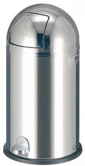 Cos metalic cu capac galvanizat, 40 litri, VEPA BINS Kickboy - stainless steel