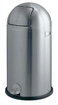 Cos metalic cu capac galvanizat, 40 litri, VEPA BINS Kickboy - stainless steel mat