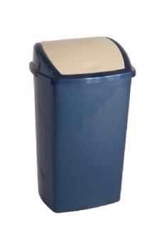 Cos din plastic pentru reziduuri, cu capac swing, 50 litri, VEPA BINS - albastru/capac crem