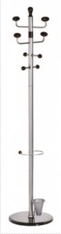 Cuier metalic argintiu cu accesorii negre, 180/38cm, ALCO