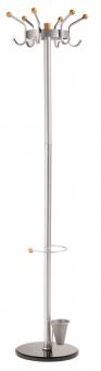 Cuier metalic ALCO, 185/45cm, 6 agatatori metalice cu accesorii din lemn, suport umbrele - argintiu