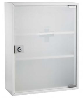 Cutie metalica de prim ajutor, dimensiuni 36 x 32 x 10cm, usa sticla, ALCO - alba