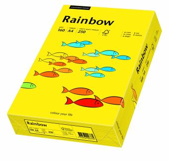 Hartie colorata galben intens Rainbow A4, 160gr/mp, 250coli/top