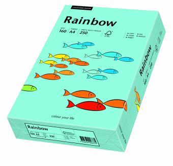 Hartie colorata albastru mediu Rainbow A4, 160gr/mp, 250coli/top