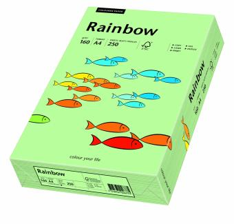 Hartie colorata verde mediu Rainbow A4, 160gr/mp, 250coli/top