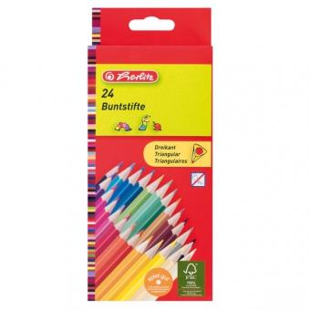 Creioane color triunghiular 1/1 set 24 bucati