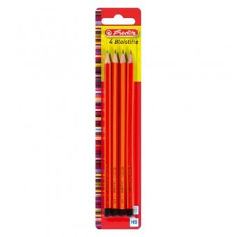 Creioane grafit, mina HB lacuite set 4 bucati