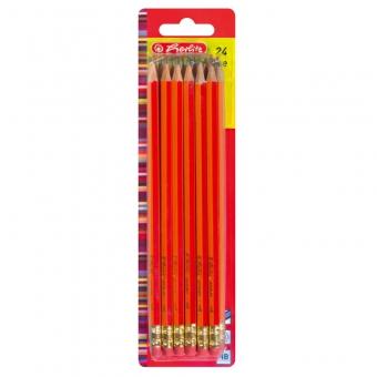 Creioane grafit cu radiera, mina HB lacuite rosu set 24 bucati