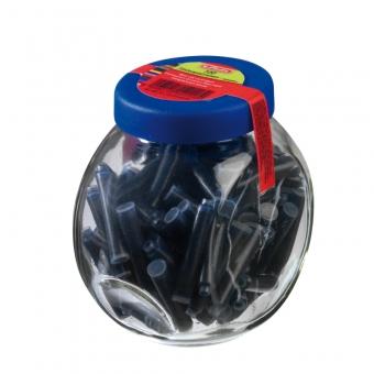 Patroane albastre pentru stilou set 100 bucati ambalate în recipient de sticla