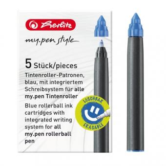 Rezerva roller My.Pen, cerneala albastra set 5 bucati - cutie de carton