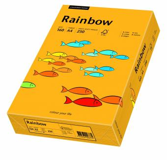Hartie colorata portocaliu Rainbow A4, 160gr/mp, 250coli/top
