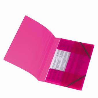 Mapa pp A4 15 mm cu elastic, culoare roz translucid