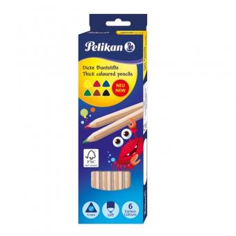 Creioane color, set 6 culori, triunghiulare, groase mina 5 mm