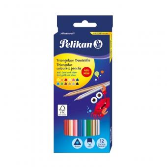 Creioane color, set 12 culori inclusiv auriu si argintiu, triunghiulare, varf 4 mm, lemn