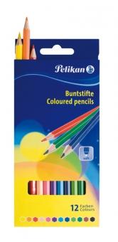 Creioane color lacuite, set 12 culori, varf 3,0mm, lung. 17,5 cm