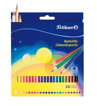 Creioane color lacuite, set 24 culori, varf 3,0mm, lung. 17,5 cm