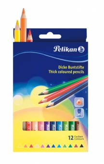 Creioane color, triunghiulare, groase, set 12 culori, varf 4,0mm, lung. 17,5cm