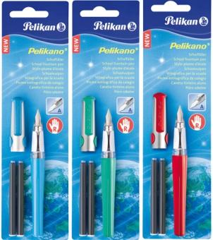 Stilou Pelikano, penita M,cu grip pentru dreptaci,2 patroane mari,3 culori asortate,blister