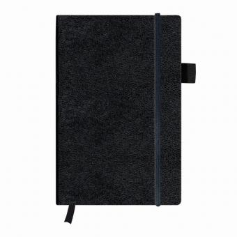 Bloc Notes A5 96 file veline coperta din piele sintetica cu elastic, motiv My Book Classic negru