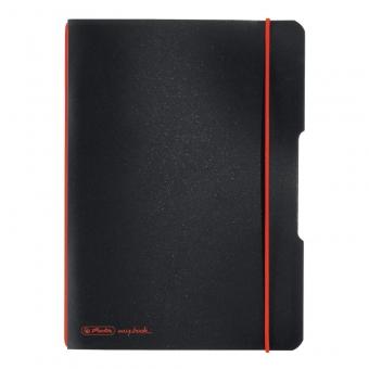 Caiet My.Book Flex A5 40f 70gr patratele, coperta neagra, elastic rosu