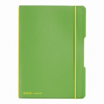 Caiet My.Book Flex A5 40f 70gr dictando, coperta verde deschis transparent, elastic galben