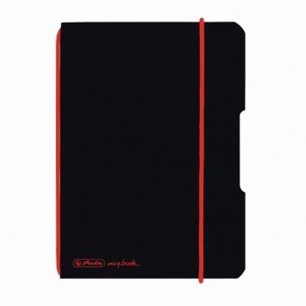 Caiet My.Book Flex A6 40f 70gr patratele, coperta neagra, elastic rosu