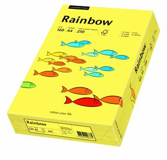 Hartie colorata galbena Rainbow A4, 160gr/mp, 250coli/top