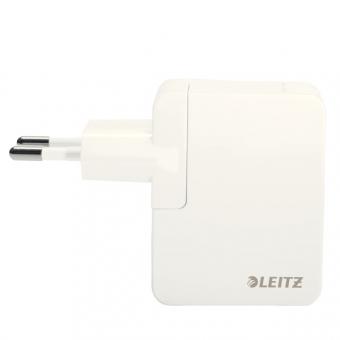 Duo-incarcator universal LEITZ Complete USB pentru perete, 12W - alb