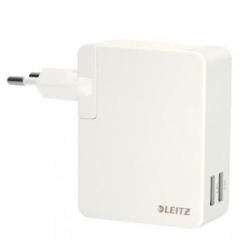 Duo-incarcator universal LEITZ Complete USB pentru perete, 24 W - alb