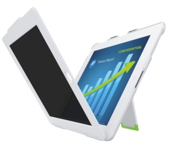 Carcasa LEITZ Complete Privacy cu filtru confidentialitate landscape pt. iPad Gen 3/4 /iPad 2 - alb